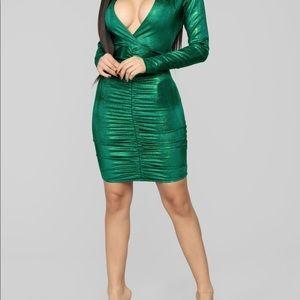 Green Metallic Fashionable Dress